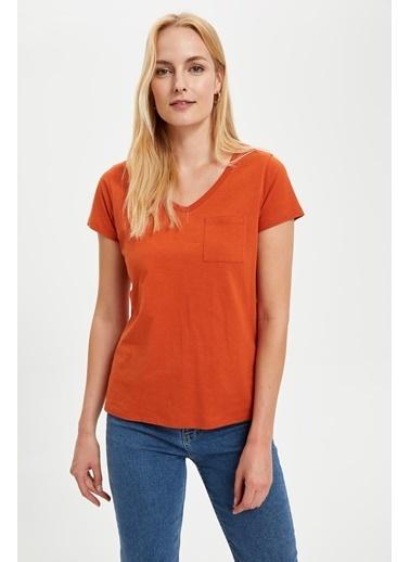 DeFacto Basic Slim Fit Kısa Kollu T-Shirt Kahve
